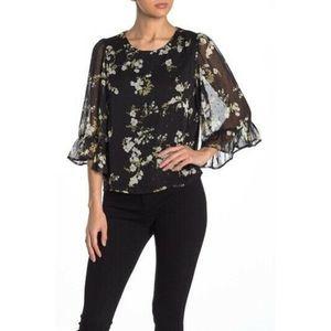 19 Cooper Ruffle Sleeve Floral Blouse Sz L Black